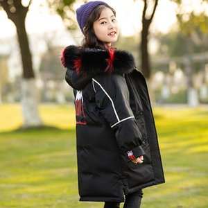 Children's Down Jacket Real Fur Hooded Coats Girls Winter Down Parka Double Side Wear Thicken Long Waterproof Outerwear TZ554
