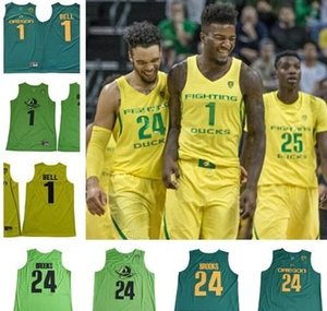 Mens Dillon Brooks 1 J.Bell NCAA Oregon Ducks College Basketball Jersey 100% genähtes Mix Auftrag S-2X Top Qualität