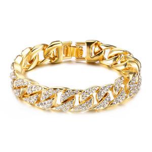 Or 18 carats gourmettes cubains pour hommes Hip Hop 14mm 23cm Glacé Cristal Miami Bracelet Le Hip Hop Roi Bijoux Bangles cadeau