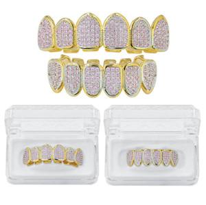 Dientes de lujo de Bling Pink Zircon dental Parrillas punk Steet Moda Hombres Mujeres de 18 quilates de oro Grillz 2 piezas de Hip Hop Grillz para los golpeadores