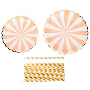 Einweg-Geschirr Set Einweg-Pappteller Cup Straw Set Geburtstag Hochzeit Party Supplies Dish Geschirr Einweg