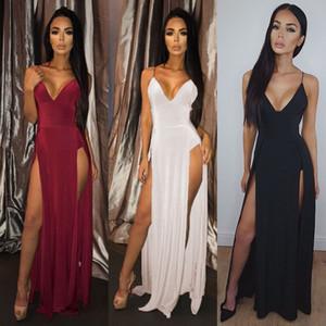 Платье сексуальных женщин лета Boho Длинные Maxi Сплошной цвет партии вечера платье V-образным вырезом Сарафаны Комбинезоны женские платья