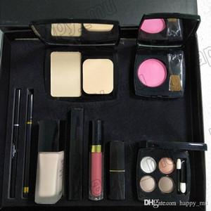 C Marke 9 Stück Set Foundation Pulver Rouge mit Bürste Liquid Foundation Lippenstift Lipgloss Lidschatten Palette Eyeliner 9 in 1 Set