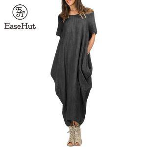 Easehut Kaftan Oversized Mulheres Longo Maxi Vestido Robe Femme Bolso Curto Assimétrico Baggy Ocasional Vestido de Verão Mais Szie Y19071101