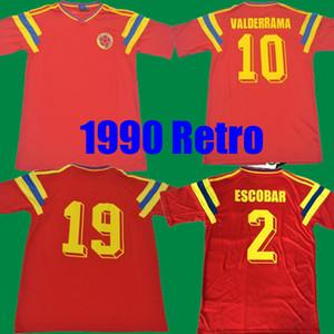 # 10 Valderrama # 9 Guerrero Kolombiya 1990 Retro Futbol Jersey Kırmızı Klasik Hatıra Antika Koleksiyon Vintage Futbol Gömlek Camiseta