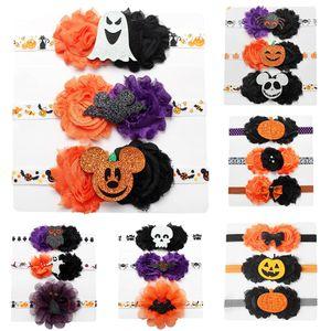 Gasa de la flor del cráneo del bebé de la calabaza de Halloween Las vendas vendas encanto pelo de las muchachas embroma los accesorios Hairbands C1269
