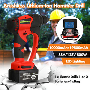 Broca 88V / 128V 800W Electric Hammer Brushless Cordless Lithium-Ion Martelo com 1 ou 2 Poder Battery Tools
