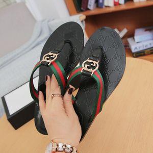 die neuesten 1072 aus echtem Leder der Frauen Männer Schuhe Diamant Sandalen Slipper Summer Fashion Flach Slippery mit dicken Sandalen Slipper Flip Flops