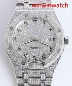 Топ горячий продавая арабские цифры набора часы полного льда из тематических алмазов алмазов 42MM замороженный серебра лицом автоматические механические наручные часы мужчин