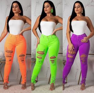 Femmes Nouveau été Objet ou sujet détouré Trou haut bouton Cadrage à la taille Sexy Crayon Jeans Active Wear Fashion Denim Pantalons longs Pantalons