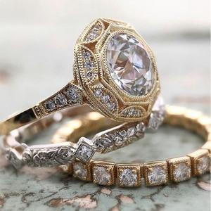 Lusso femminile nuziale anello di fidanzamento 3pcs Hexagon Anello rotondo vintage set oro Anelli fascia di nozze per le donne