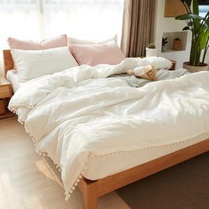 Белые розовые наборы постельных принадлежностей с промытым мячом декоративная ткань из микрофибры королева король пододеяльник наволочка удобная