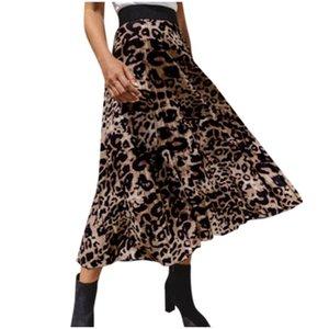 Le donne Leopard Print gonna a pieghe signore elasticizzata Gonna a vita alta Abbigliamento Donna Jupe Femme Womens Faldas Estate 2020