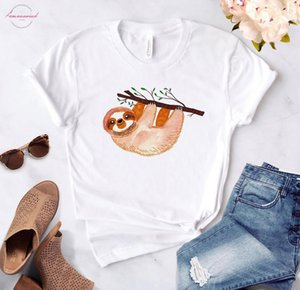 Sloth Mode Print Women Tshirt Cotton Casual Funny T Shirt Gift Linen 90S Lady Yong Girl High Quality Drop Ship S 847