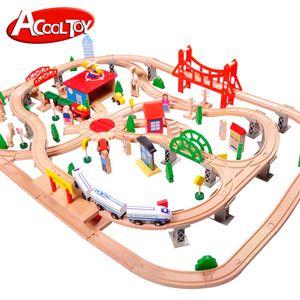 Électrique Thomas Wood train Toy Model, 130 PCS, Tracks Doll voiture avec son, grande taille, la peinture verte, Coffre-fort pour l'anniversaire « Kid cadeau de Noël