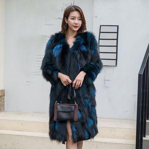 New genuine real natural fur coat women's fashion long jacket ladies V-neck warm winter outwear custom big size