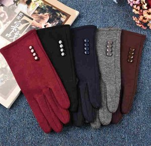 New 2020 Fashion Winter 4 Buttons Touch Screen Gloves Outdoor Sports Warm Gloves Mittens Cashmere Glove