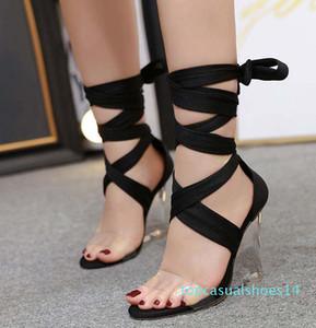 Sexy ankle wrap clear heels fashion luxury designer women gladiator women sandals women platform wedges sandals size 35 to 41 t14