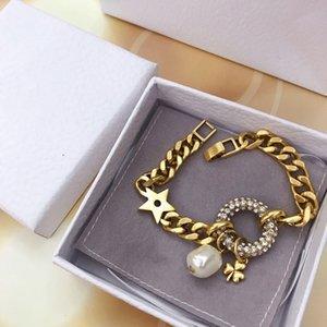 pulsera europea y americana de encargo del diamante con el diamante y perla diseñador de moda anillo de pulsera