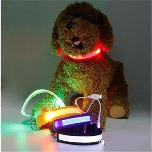 Newest Nylon LED Pet Dog Collar Night Safety Flashing Glow In The Dark Dog Leash Dogs Luminous Fluorescent Collars Pet Supplies