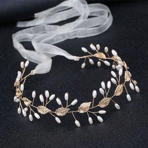 Baroque Golden Leaf Perle torsionnelle Beads Manuel Band Hair Bride Veil Robe de mariée match