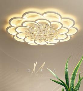 Moderne LED Lustres Dimmable distance Salon Dimming Chambre Fleur circulaire Lumières plafond K9 Lampes de Cristal Luminaires intérieurs