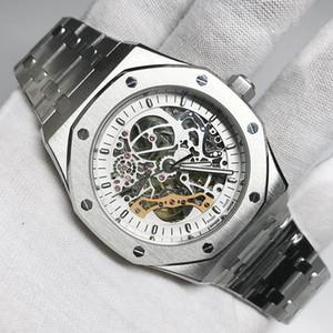 6 종류의 로얄 더블 밸런스 휠 골격 오크 열기는 다시 부드러운 자동 시계 스테인레스 스틸 블랙 15407 손목 시계 다이얼 활공