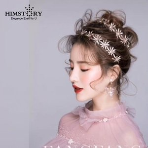 HIMSTORY handgemachte Sonnenblume Haarbänder Braut Stirnband Strass Hochzeit Haarschmuck Haarschmuck Haarreif De Noiva