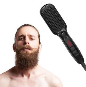 Cepillo Alisador de cabello Calentador de cerámica antiestático Desenredante Más rápido Alisado Barba Peine Para Hombre Mujer DHL FEDEX