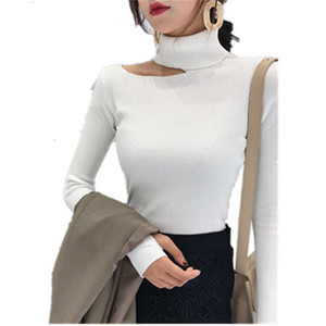 Womens Sweaters Autumn Winter Women Pullovers Sweater Knitted Elasticity Hollow Out Turtleneck Female Sweaters Free Shipping