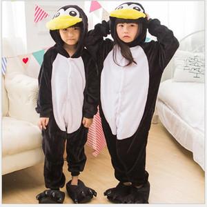 Penguin Onesie Kids Pajama Boy Girl Whole Animal Cosplay Costume Sleepsuit Flannel Mascot Party Winter Warm Sleepwear Y200704