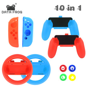 DATA FROG 10 in 1 Grip Joypad Stand Case For Nintendo Switch Joy Con Controller With Steer Wheel Handle For Switch Game Console