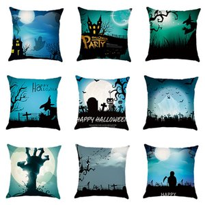 Halloween Cushion Cover Linen Throw Pillow Cover Witch Ghost Castle Crow Printed Decorative Pillow Case For Sofa Bedroom