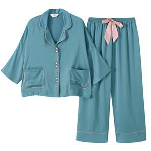 4 Renkler Katı Kadınlar Pijama Takımı Kapalı Yumuşak Dokunuş Kadın Buz İpek pijamalar Yüksek Grade Gevşek Kızlar Gecelik