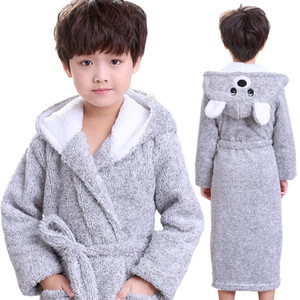 kids bathrobe animal bear cosplay soft flannel bathrobe for 3-12years child boys girls home bedroom robe nightwear clothes