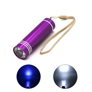 Freies Verschiffen schnelle Anlieferung des neuen Minialuminiumfackel Weiß / UV UV-Licht-Taschenlampen-Multi-Color-Lampe Gebrauch 3x AAA Batterie