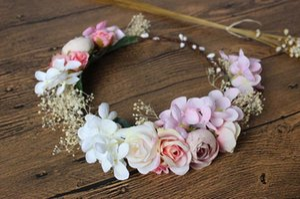 Children Veils Headpiece Flower Sea Beach Coiffe Fleurs Filles Guirlandes Photographie Photographie Hair Accessoires Boho Floral Crown C501