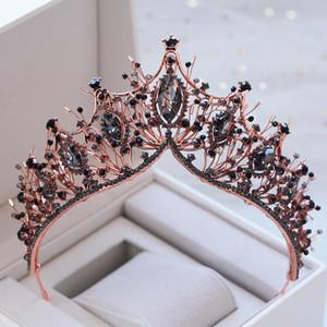 Оптовая барокко розовое золото Черный Кристалл свадебная тиара горный хрусталь диадема конкурс Корона для невесты оголовье свадебные аксессуары для волос