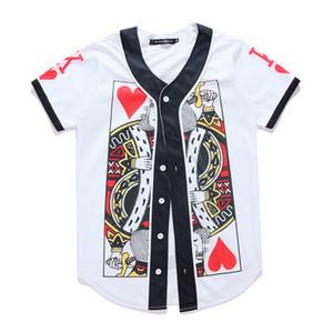 2019 Nuevos hombres / mujeres camiseta 3d con cuello en v Twilight Tree estampado de dibujos animados Hip Hop Button Poker AQK Cardigan Baseball Shirt Half Sleeve