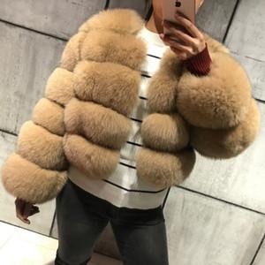 FURSARCAR 2019 Nouveau mode naturel réel Blue Fox Fur femmes Vestes véritable fourrure naturelle Manteaux Femme 5 Ligne courte Vêtements filles Y191206