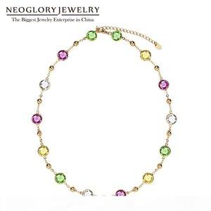 Presentes Dia Neoglory luz amarela Choker Cadeia Maxi colares longos para as mulheres dos Namorados embelezado com cristais de Swarovski