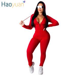 Haoyuan Zweiteiler Anzug für Frauen Festival Kleidung Herbst Winter Top + Pant Sweat Anzüge Neon 2 Stück Outfits Passende Produkte