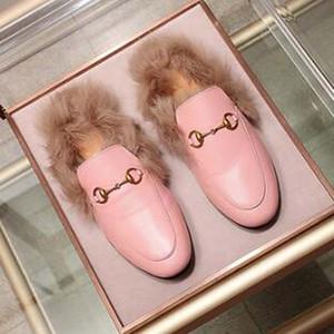 Donne sandali delle signore a catena Princetown Moda Pelliccia Mules appartamenti scarpe casual donne degli uomini Pelliccia Pantofole TB4 Vera Pelle