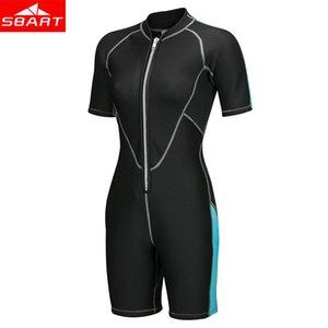 SBART 2mm Neopren Wetsuits Erkekler Kadın Yüzme Islak Tek Parça Kalınlaşmak Mayo Kısa Kollu Derin Dalış Sörf Wetsuits Suits