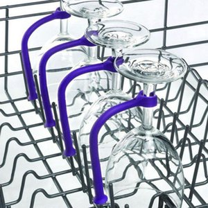 4pcs Wine Glass Rack Flexible Silicone Goblet Holder Dishwasher Bracket Creative Stemware Holder Fixed Holder Bar Kitchen Tool