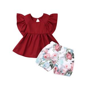 2019 Newborn Toddler Kids Baby Girls ropa Ruffle jersey sólido sin mangas cuello redondo Tops Estampado de flores Shorts 2pc trajes encantadores