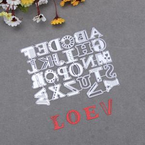 26pcs / Set Fantaisie Anglais Lettres En Métal Cutting Dies Pochoirs pour Album Scrapbooking Bricolage Gaufrage Cartes En Papier Décor Artisanat