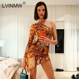 Lvinmw Seksi Örgü See Through Baskı İnce 2019 Bahar Kadın Bir Omuz Uzun Kollu Düzensiz Mini Elbise Parti Kulübü Elbiseler MX190725