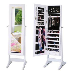 Adjustable Angle Tilting Cabinet Lockable Bedroom Makeup Mirror Organizer Closet