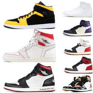 2019 Nuevo 1 1s Hombres Mujeres Zapatos de baloncesto union ying yang pack Triple blanco uncsports ilustrado TOP 1s Nuevo Sport Sneakers